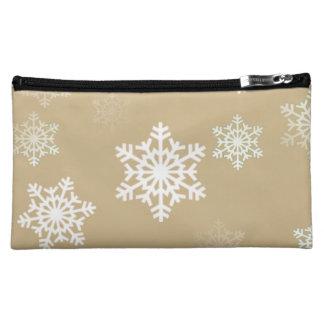 Weihnachtsmattgoldschnee-Flocken Kosmetiktasche