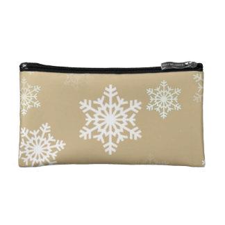 Weihnachtsmattgoldschnee-Flocken Makeup-Tasche