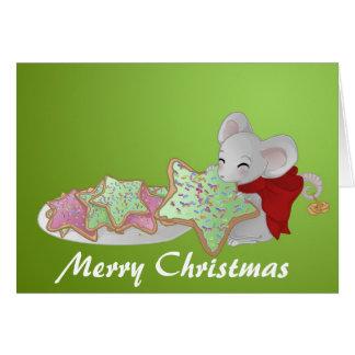 Weihnachtsmaus der Plätzchendieb Grußkarte