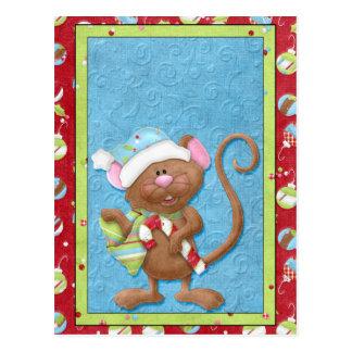 Weihnachtsmaus mit Zuckerstange-Karten Postkarte