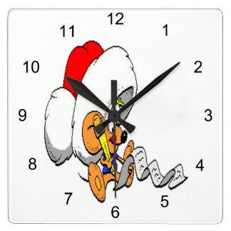 Weihnachtsmaus Quadratische Wanduhr
