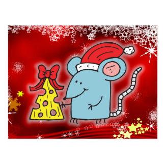 Weihnachtsmaus u. -käse postkarte