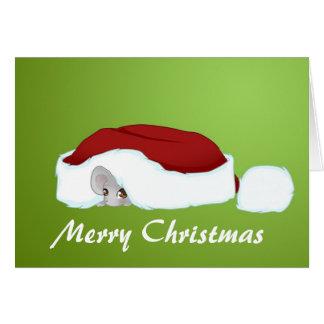 Weihnachtsmaus unter dem Hut Karte