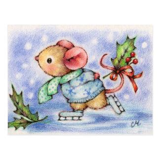 Weihnachtsmäuseeis-Skaten-Tier-Postkarte Postkarte