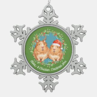 Weihnachtsmeerschweinchen-Paare winden Schneeflocken Zinn-Ornament
