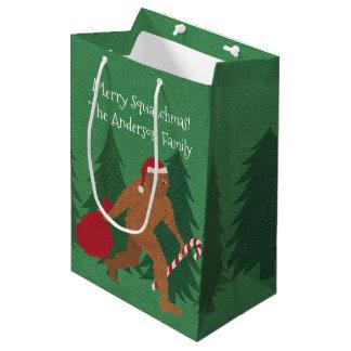 Weihnachtsmittlerer Cartoon Bigfoot Sankt Squatch Mittlere Geschenktüte