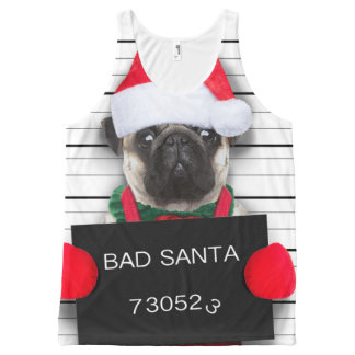WeihnachtsMops - Mugshothund - Sankt-Mops Komplett Bedrucktes Tanktop