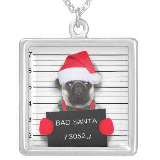 WeihnachtsMops - Mugshothund - Sankt-Mops Versilberte Kette
