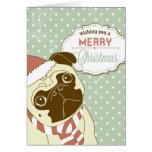 WeihnachtsMops! Niedlicher kleiner Hund in der Wei Karte