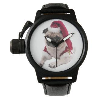 WeihnachtsMops - Weihnachtsmann-Hund - verfolgen Armbanduhr