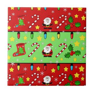 Weihnachtsmuster - Rot und Grün Kleine Quadratische Fliese