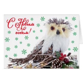 Weihnachtsneues Jahr-kluge Eulen-Vintages Karte