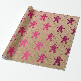 Weihnachtsneues Jahr-pinkfarbener Lebkuchen-Mann Geschenkpapier
