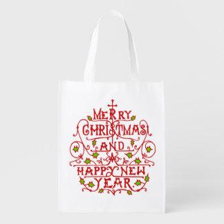 Weihnachtsneues Jahr-Vintage Typografie Wiederverwendbare Einkaufstasche