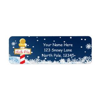 Weihnachtsnordpol-Zeichen-Party-Adressen-Etiketten