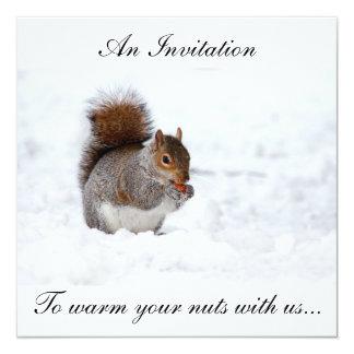Weihnachtsnuss-Wärmer inviation Quadratische 13,3 Cm Einladungskarte