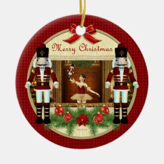 Weihnachtsnussknacker-Ballerina-Verzierung Rundes Keramik Ornament
