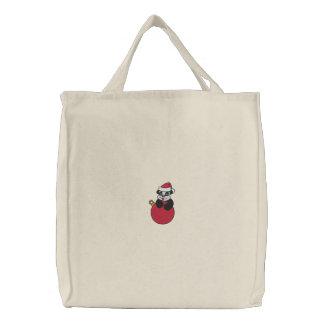 Weihnachtspanda-Bärn-gestickte Tasche