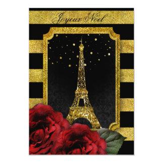 Weihnachtsparis-Rosen-Eiffel-Turm-Goldstreifen Karte