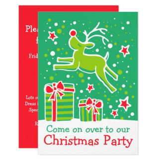 WeihnachtsParty Einladungsren-Grünrot Karte