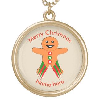 WeihnachtsParty-Lebkuchen-Mann-Halskette Vergoldete Kette