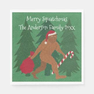 WeihnachtsParty lustiges Squatchy Sankt Squatch Papierserviette