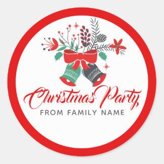 WeihnachtsParty-Typografie u. Bell-Blumenstrauß Runder Aufkleber