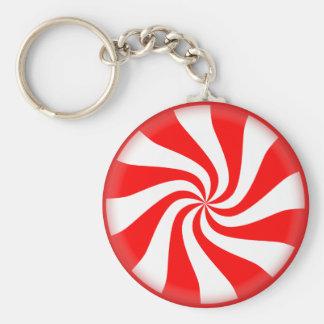 Weihnachtspfefferminz grundlegendes Keychain Standard Runder Schlüsselanhänger