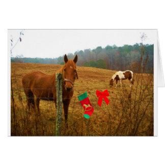 Weihnachtspferd mit Bogen und Strumpf Karte