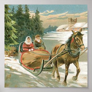 Weihnachtspferd und -Pferdeschlitten Poster