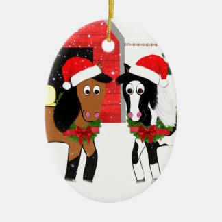 Weihnachtspferde Keramik Ornament