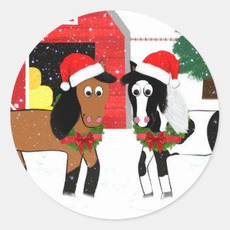 Weihnachtspferde Runder Aufkleber
