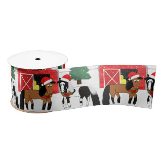 Weihnachtspferdeband Satinband