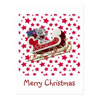 WeihnachtsPferdeschlitten-Teddybär Postkarte