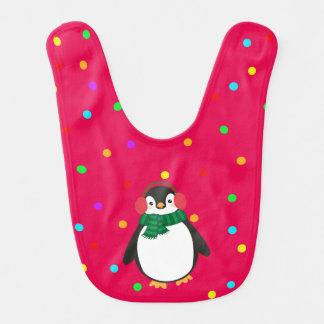 WeihnachtsPinguin auf Rot mit dem Ohr verpfuscht Lätzchen