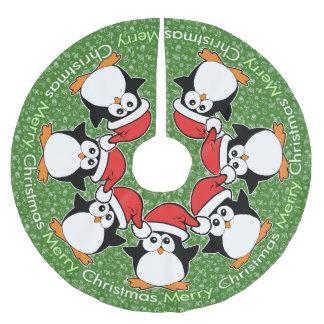 WeihnachtsPinguin-frohe Weihnachten Polyester Weihnachtsbaumdecke