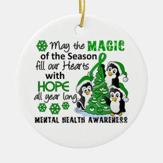 WeihnachtsPinguin-psychische Gesundheiten Rundes Keramik Ornament