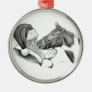 Weihnachtspinto-Farben-Pferd und Sankt Silbernes Ornament