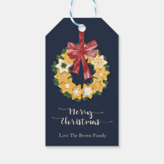 Christmas Cookie Wreath with Blue Grey Background