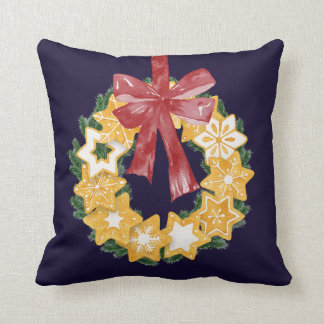 Christmas Cookie Wreath with Navy Blue Background