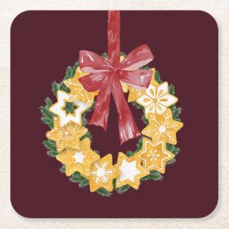 Weihnachtsplätzchen-Kranz mit Rechteckiger Pappuntersetzer