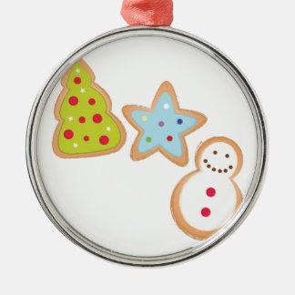 Weihnachtsplätzchen Rundes Silberfarbenes Ornament