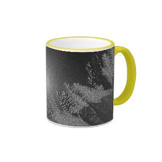 Weihnachtspoinsettia-Schwarzes und Grau Kaffee Tasse