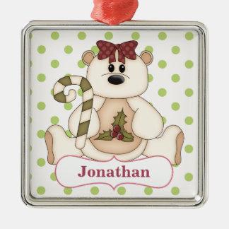 Weihnachtspolarer Bär personalisiert Silbernes Ornament