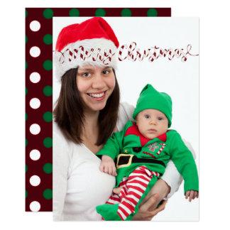 Weihnachtspolka-Punkte u. Streifen-Foto-Karte Karte