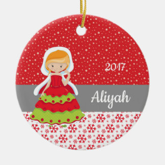 Weihnachtsprinzessin Snowflakes Snow Ornament Red