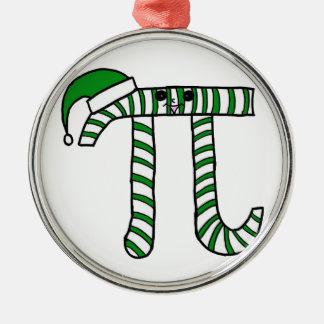 Weihnachtspu-Mathe-Aussenseiter-Verzierung im Grün Rundes Silberfarbenes Ornament