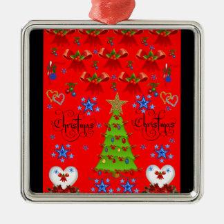 Weihnachtsquadratisches erstklassiges silbernes ornament