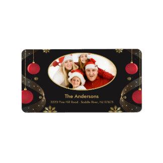Weihnachtsrahmen FOTO Rücksendeadresse-Aufkleber Adressaufkleber