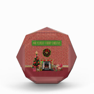 Weihnachtsraum, Kamin, Baum, Spielwaren Acryl Auszeichnung